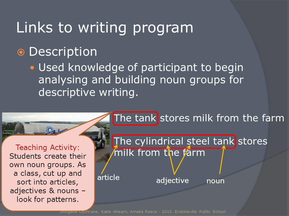 Links to writing program  Description Used knowledge of participant to begin analysing and building noun groups for descriptive writing.