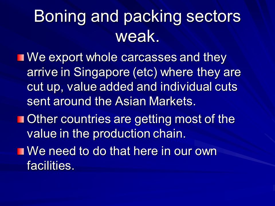 Boning and packing sectors weak.