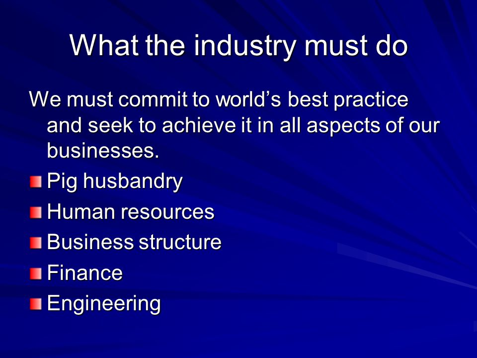 What the industry must do We must commit to world's best practice and seek to achieve it in all aspects of our businesses.