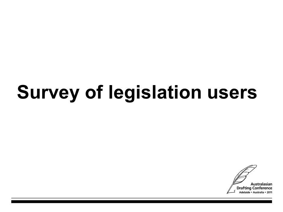 Survey of legislation users