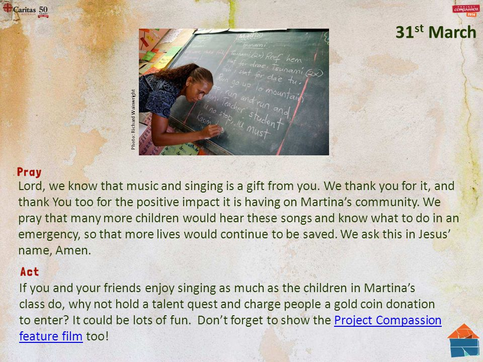Lord, we know that music and singing is a gift from you. We thank you for it, and thank You too for the positive impact it is having on Martina's comm