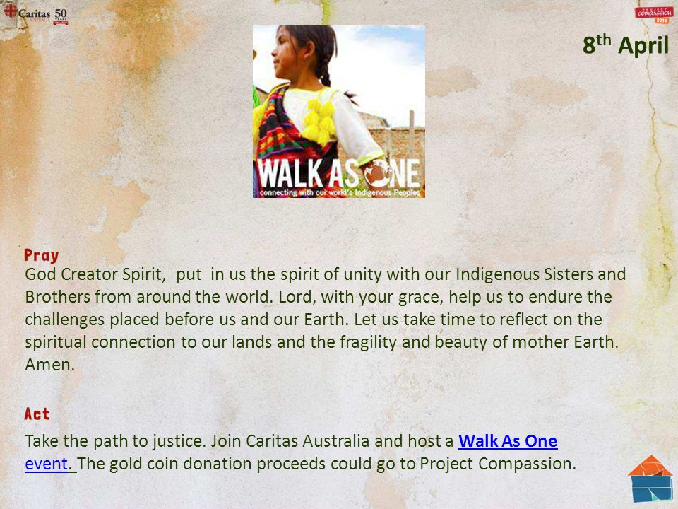 God Creator Spirit, put in us the spirit of unity with our Indigenous Sisters and Brothers from around the world.