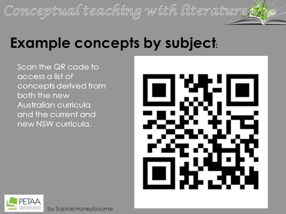 by Sophie Honeybourne Example concepts by subject : Scan the QR code to access a list of concepts derived from both the new Australian curricula and the current and new NSW curricula.