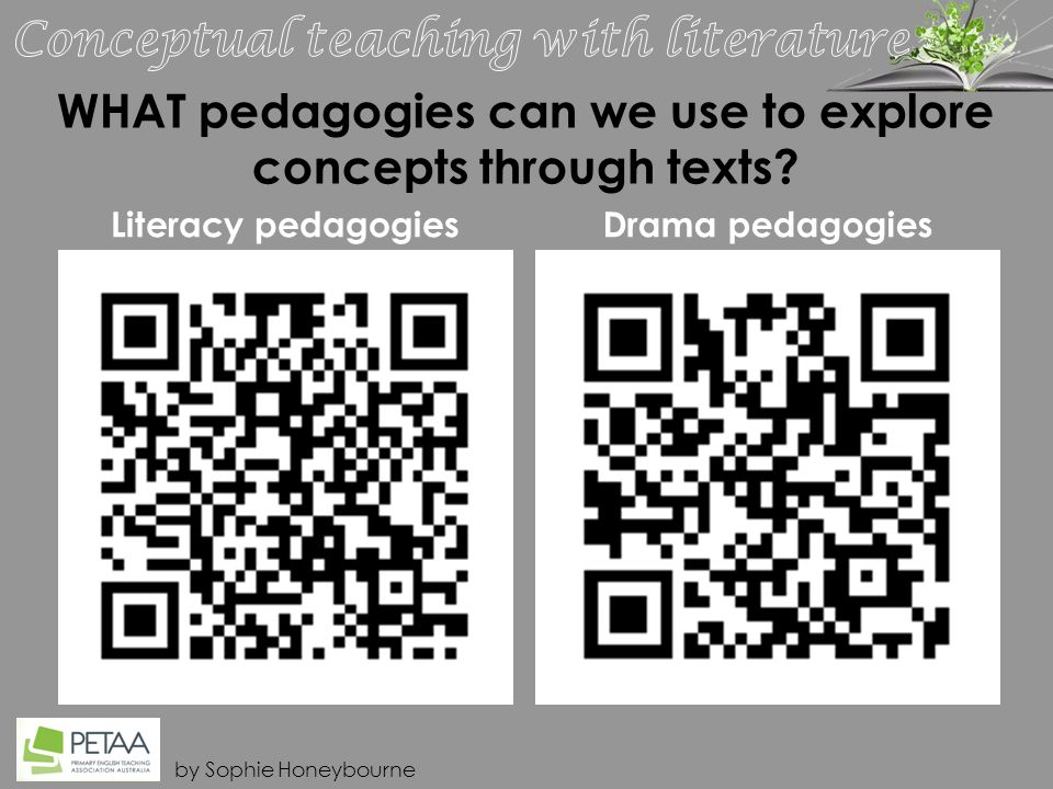 by Sophie Honeybourne WHAT pedagogies can we use to explore concepts through texts.