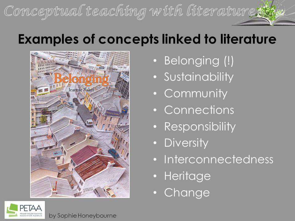 by Sophie Honeybourne Examples of concepts linked to literature Belonging (!) Sustainability Community Connections Responsibility Diversity Interconnectedness Heritage Change