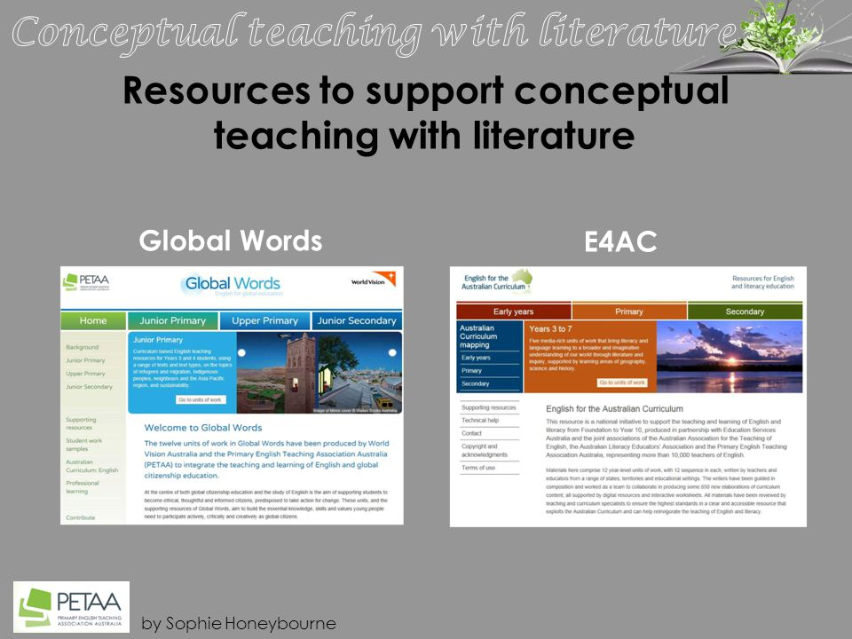 by Sophie Honeybourne Resources to support conceptual teaching with literature Global Words E4AC