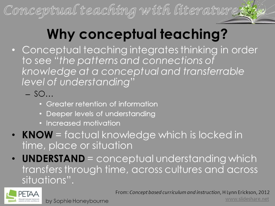 by Sophie Honeybourne What is a concept and what is conceptual teaching.