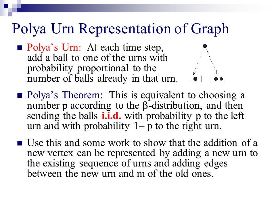 Polya Urn Representation of Graph Polya's Urn: At each time step, add a ball to one of the urns with probability proportional to the number of balls already in that urn.