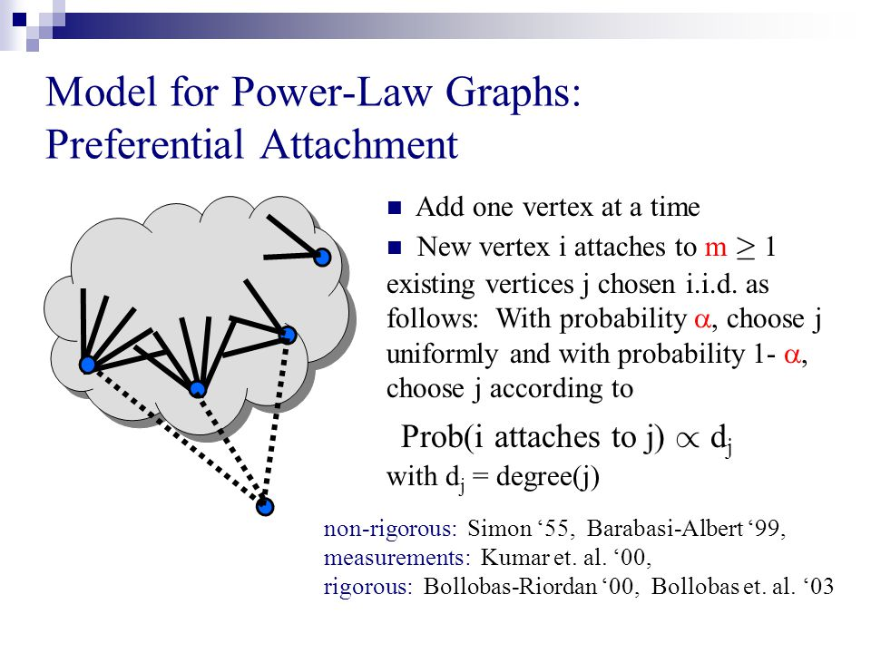 Model for Power-Law Graphs: Preferential Attachment non-rigorous: Simon '55, Barabasi-Albert '99, measurements: Kumar et.