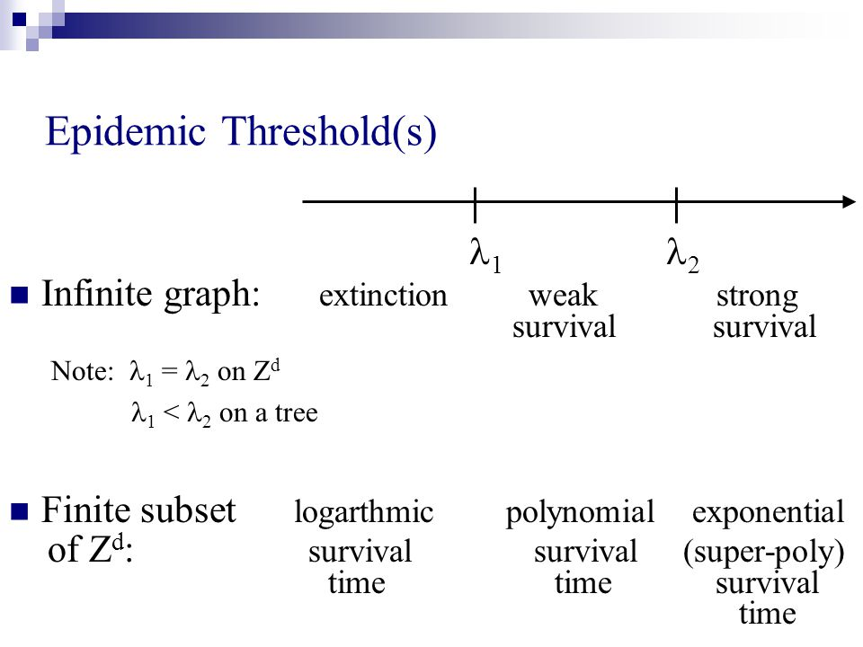 Epidemic Threshold(s) 1 2 Infinite graph: extinction weak strong survival survival Note: 1 = 2 on Z d 1 < 2 on a tree Finite subset logarthmic polynomial exponential of Z d : survival survival (super-poly) time time survival time