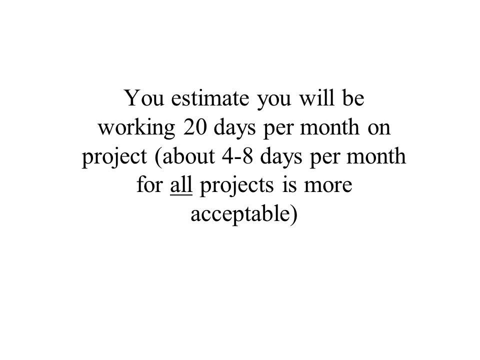 You estimate you will be working 20 days per month on project (about 4-8 days per month for all projects is more acceptable)
