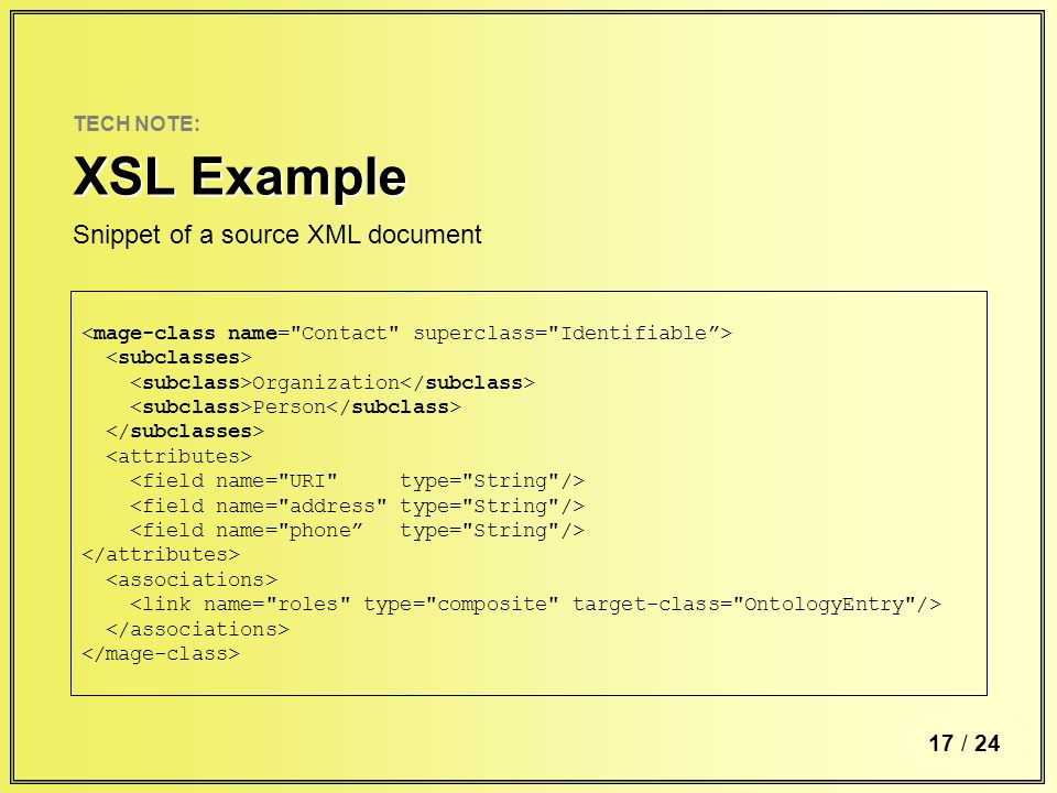 6 / TECH NOTE: XSL Example 17 / 24 Organization Person Snippet of a source XML document