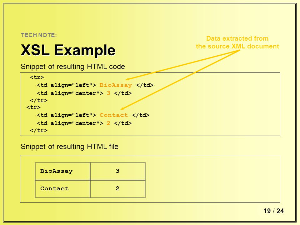 6 / TECH NOTE: XSL Example 19 / 24 BioAssay 3 Contact 2 Snippet of resulting HTML code Data extracted from the source XML document BioAssay Contact 3 2 Snippet of resulting HTML file