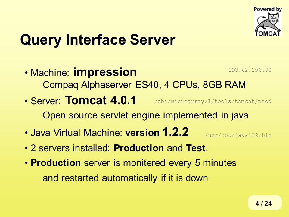 4 / 24 Query Interface Server Machine: impression Compaq Alphaserver ES40, 4 CPUs, 8GB RAM Server: Tomcat 4.0.1 Open source servlet engine implemented in java Java Virtual Machine: version 1.2.2 2 servers installed: Production and Test.