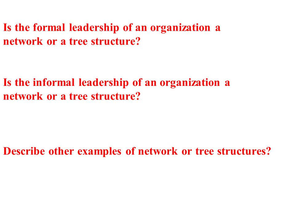 Is the formal leadership of an organization a network or a tree structure? Is the informal leadership of an organization a network or a tree structure