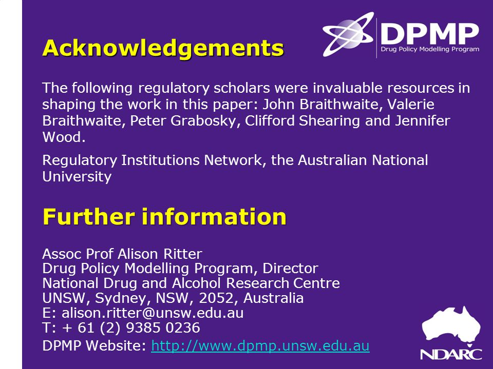 Acknowledgements The following regulatory scholars were invaluable resources in shaping the work in this paper: John Braithwaite, Valerie Braithwaite, Peter Grabosky, Clifford Shearing and Jennifer Wood.