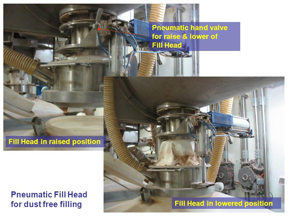 Pneumatic hand valve for raise & lower of Fill Head Pneumatic Fill Head for dust free filling Fill Head in raised position Fill Head in lowered positi