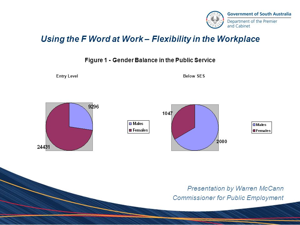 Using the F Word at Work – Flexibility in the Workplace Presentation by Warren McCann Commissioner for Public Employment Table 3 – Different factors women consider when job seeking