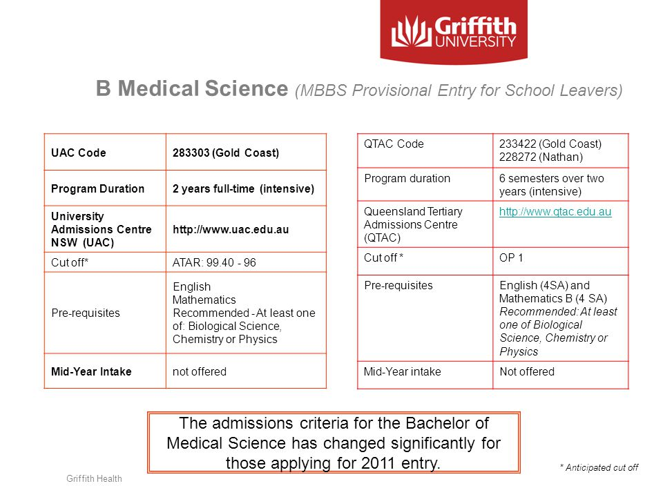 B Medical Science (MBBS Provisional Entry for School Leavers) Griffith Health QTAC Code233422 (Gold Coast) 228272 (Nathan) Program duration6 semesters over two years (intensive) Queensland Tertiary Admissions Centre (QTAC) http://www.qtac.edu.au Cut off *OP 1 Pre-requisitesEnglish (4SA) and Mathematics B (4 SA) Recommended: At least one of Biological Science, Chemistry or Physics Mid-Year intakeNot offered * Anticipated cut off UAC Code283303 (Gold Coast) Program Duration2 years full-time (intensive) University Admissions Centre NSW (UAC) http://www.uac.edu.au Cut off*ATAR: 99.40 - 96 Pre-requisites English Mathematics Recommended - At least one of: Biological Science, Chemistry or Physics Mid-Year Intakenot offered The admissions criteria for the Bachelor of Medical Science has changed significantly for those applying for 2011 entry.