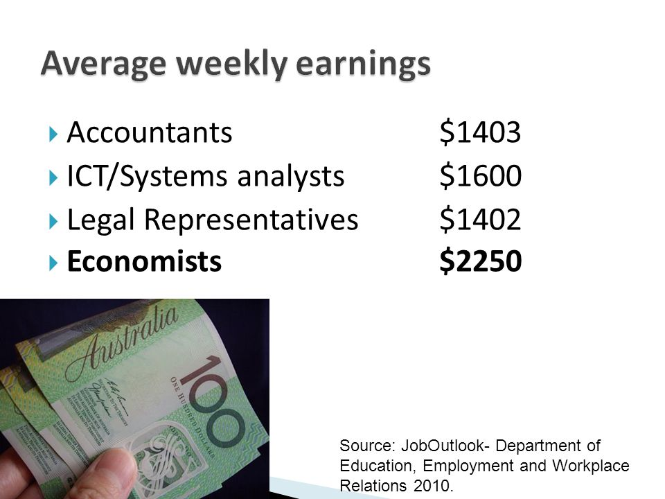  Accountants $1403  ICT/Systems analysts$1600  Legal Representatives$1402  Economists$2250 Source: JobOutlook- Department of Education, Employment and Workplace Relations 2010.