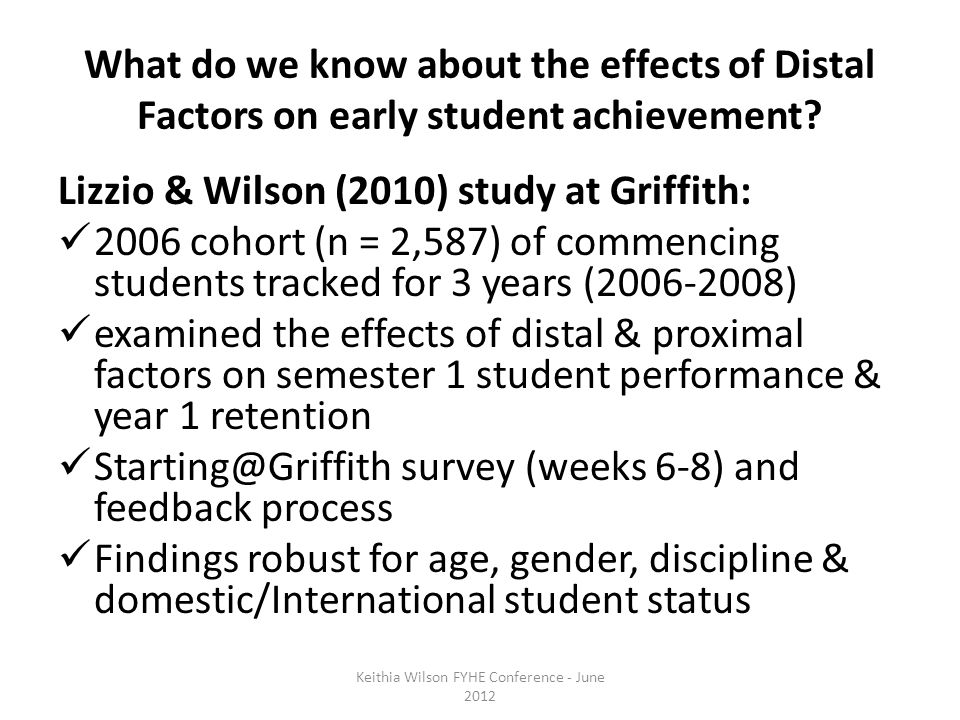 What do we know about the effects of Distal Factors on early student achievement.
