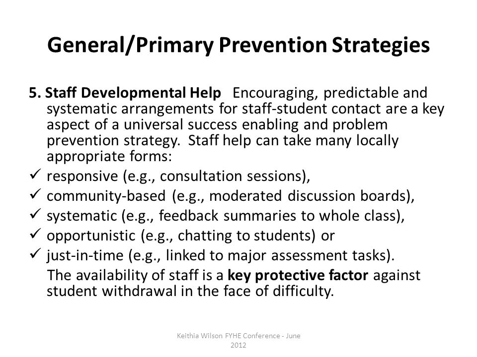 General/Primary Prevention Strategies 5.