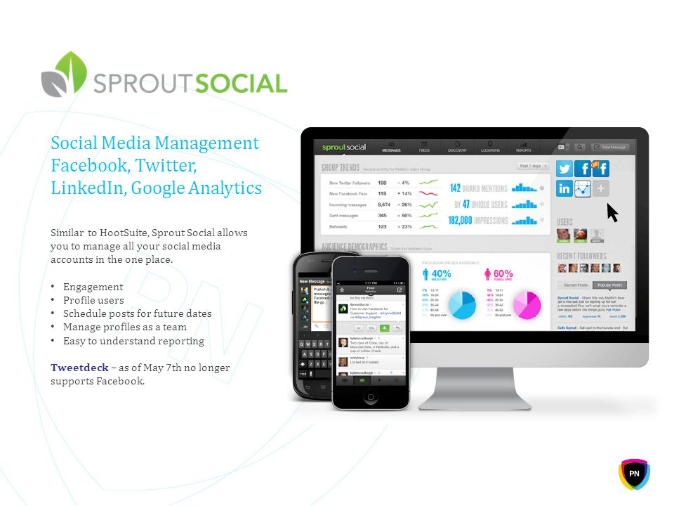 Social Media Management Facebook, Twitter, LinkedIn, Google Analytics Similar to HootSuite, Sprout Social allows you to manage all your social media a