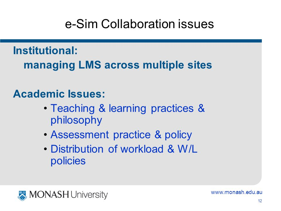 www.monash.edu.au 12 e-Sim Collaboration issues Institutional: managing LMS across multiple sites Academic Issues: Teaching & learning practices & philosophy Assessment practice & policy Distribution of workload & W/L policies