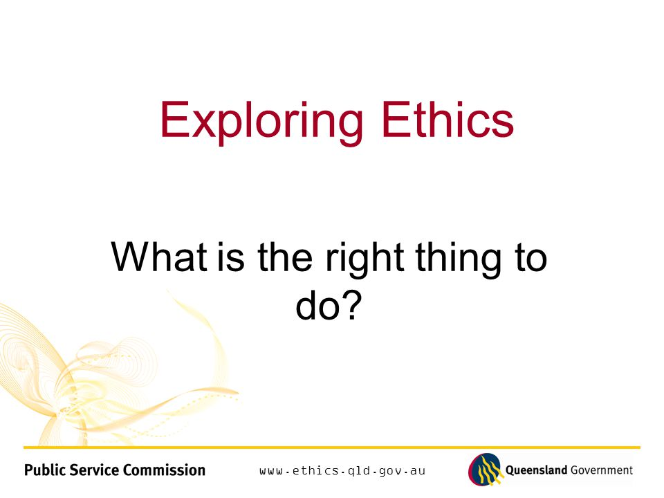 www.ethics.qld.gov.au Commitment to the system of government the government (elected by the people) and the laws and institutions (public service and courts)