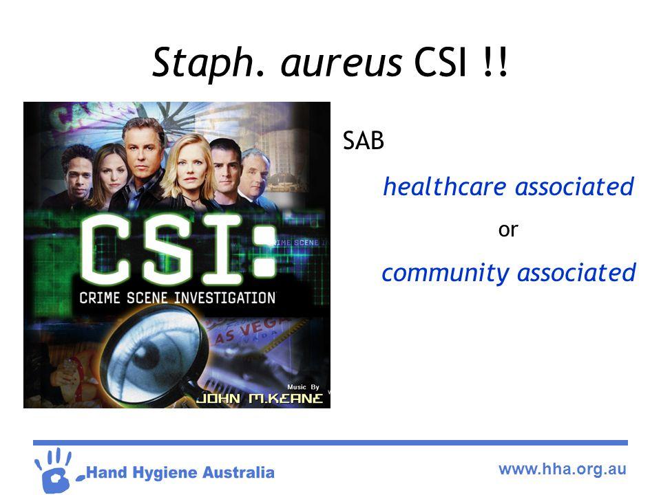 www.hha.org.au Staph. aureus CSI !! SAB healthcare associated or community associated