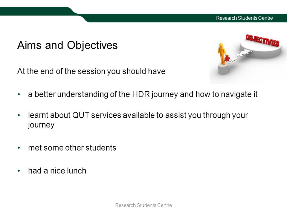 Aims and Objectives At the end of the session you should have a better understanding of the HDR journey and how to navigate it learnt about QUT services available to assist you through your journey met some other students had a nice lunch Research Students Centre