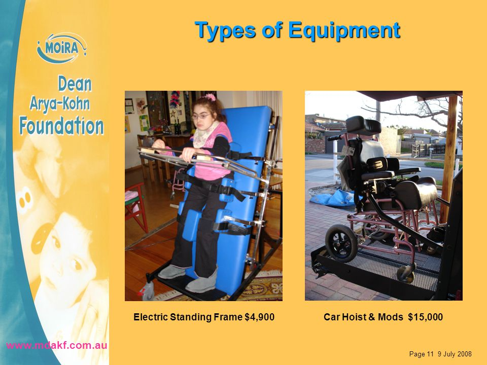 Types of Equipment Page 11 9 July 2008 Electric Standing Frame $4,900Car Hoist & Mods $15,000 www.mdakf.com.au