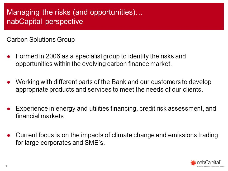 3 Managing the risks (and opportunities)… nabCapital perspective Carbon Solutions Group ●Formed in 2006 as a specialist group to identify the risks and opportunities within the evolving carbon finance market.