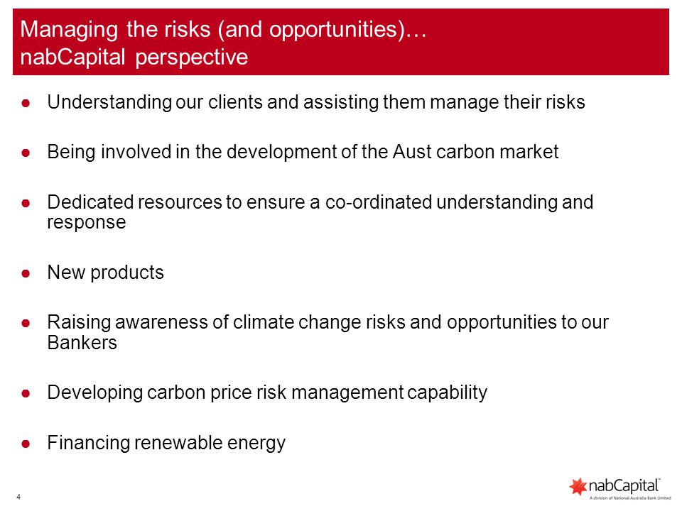 5 Financing and Carbon Risk Management ●nabCapital is an experienced lender to the energy infrastructure sector – including renewable/sustainable energy.