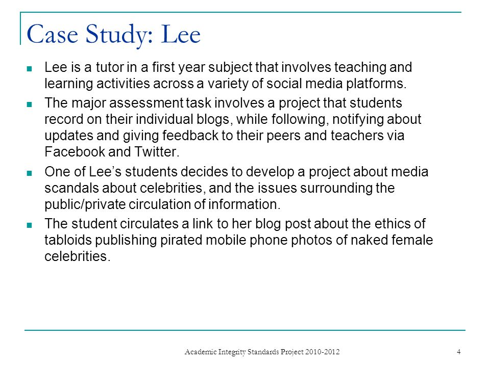 Case Study: Lee Lee is a tutor in a first year subject that involves teaching and learning activities across a variety of social media platforms.