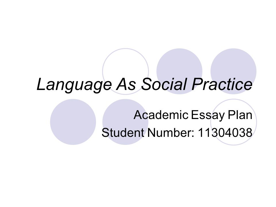 Language As Social Practice Academic Essay Plan Student Number: 11304038
