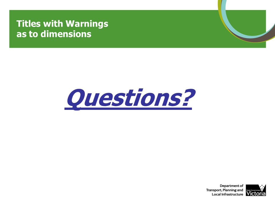 Questions Titles with Warnings as to dimensions