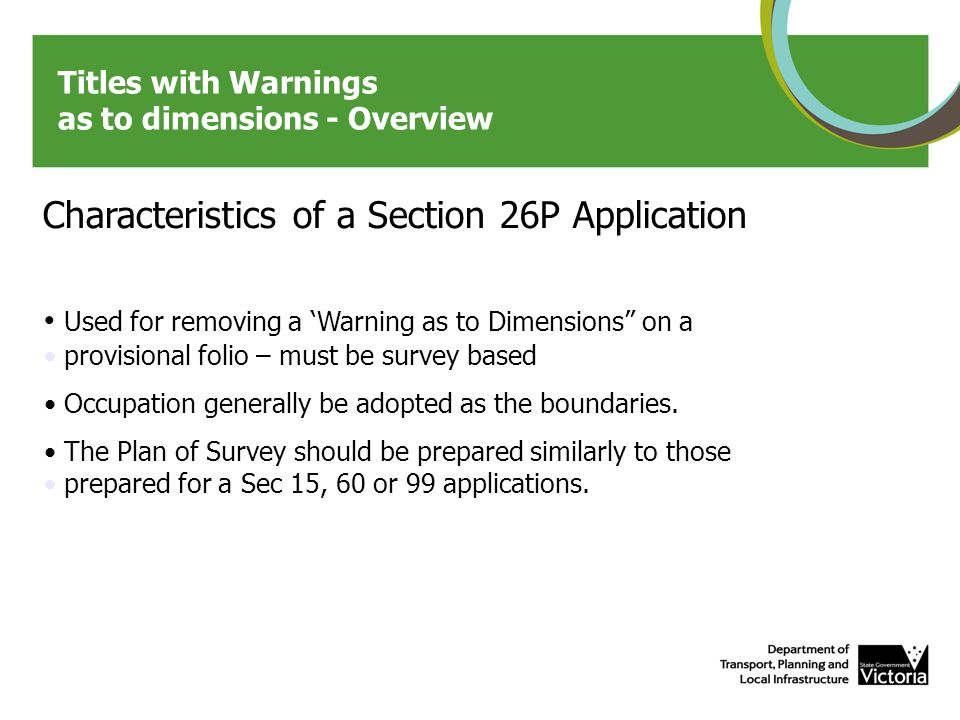 Titles with Warnings as to dimensions – Township PS example