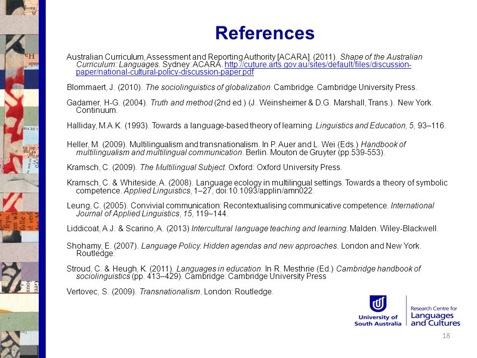 References Australian Curriculum, Assessment and Reporting Authority [ACARA].