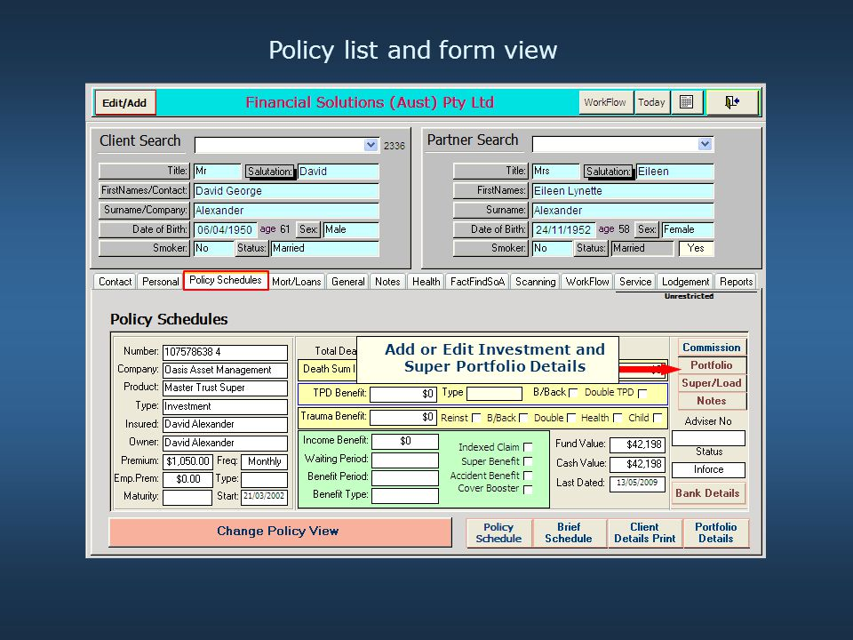 Policy list and form view Add or Edit Investment and Super Portfolio Details