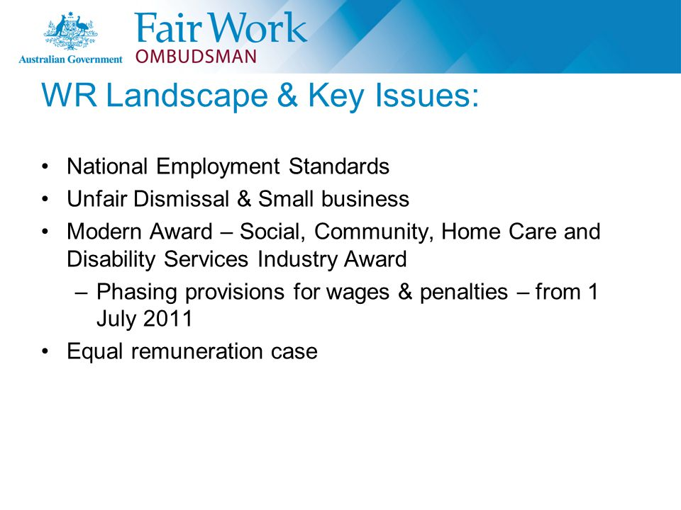 WR Landscape & Key Issues: National Employment Standards Unfair Dismissal & Small business Modern Award – Social, Community, Home Care and Disability Services Industry Award –Phasing provisions for wages & penalties – from 1 July 2011 Equal remuneration case