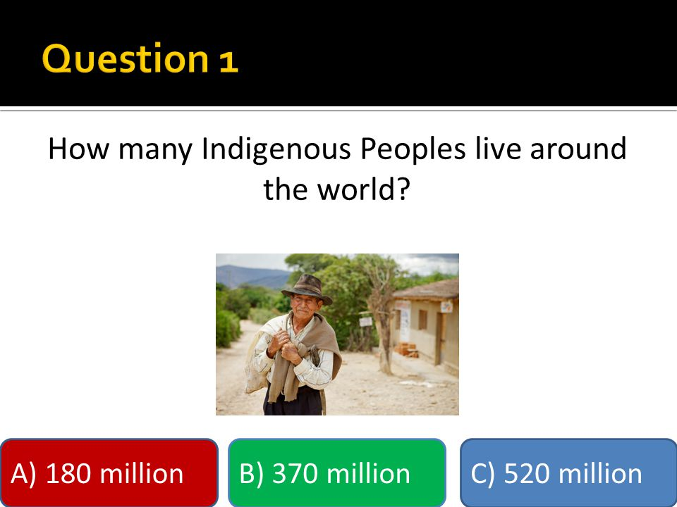 How many Indigenous Peoples live around the world A) 180 millionB) 370 millionC) 520 million