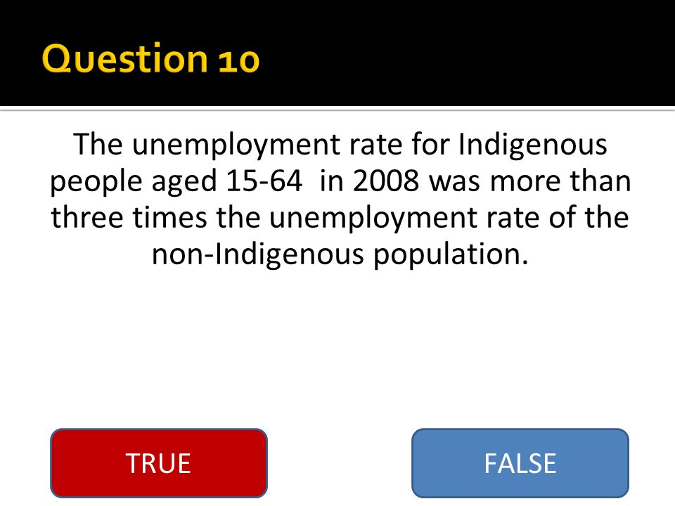 TRUEFALSE The unemployment rate for Indigenous people aged 15-64 in 2008 was more than three times the unemployment rate of the non-Indigenous population.