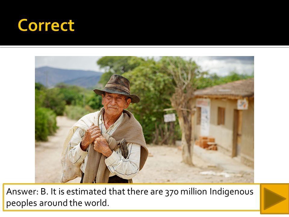 Answer: B. It is estimated that there are 370 million Indigenous peoples around the world.