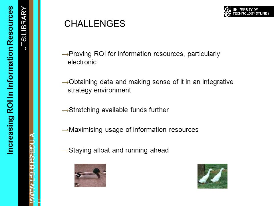 UTS:LIBRARY WWW.LIB.UTS.EDU.A U Increasing ROI In Information Resources Ann Flynn, UTS CRICOS CODE 00099F  Proving ROI for information resources, particularly electronic  Obtaining data and making sense of it in an integrative strategy environment  Stretching available funds further  Maximising usage of information resources  Staying afloat and running ahead CHALLENGES