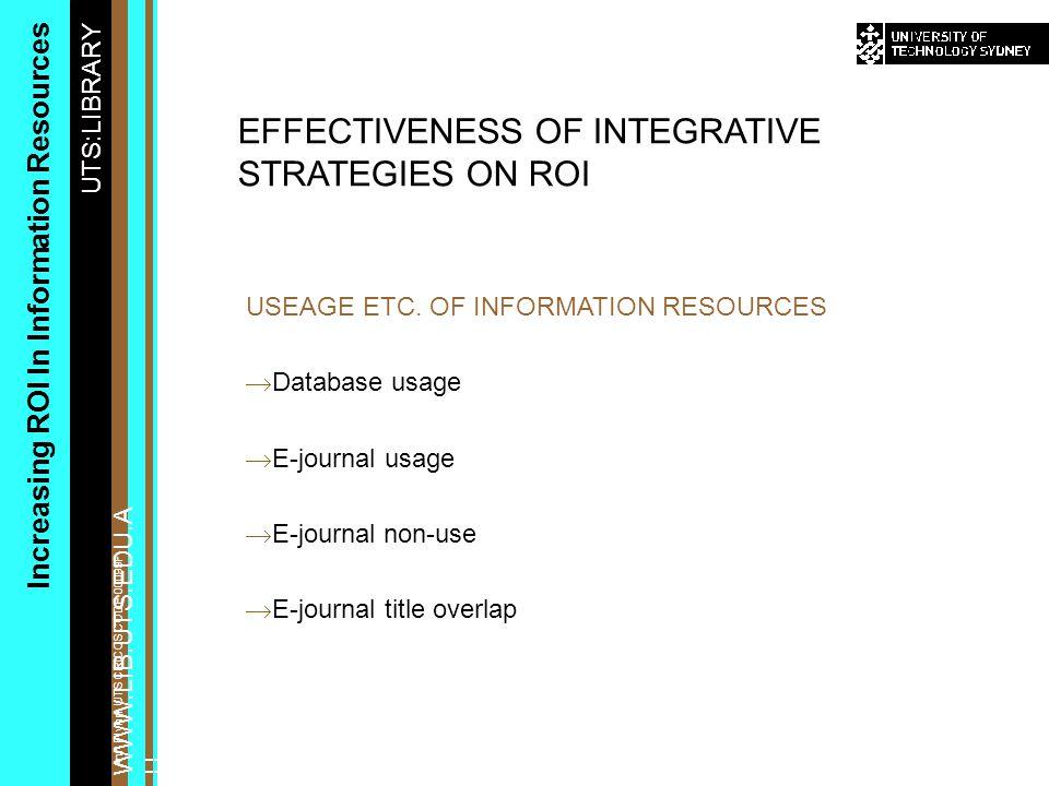 UTS:LIBRARY WWW.LIB.UTS.EDU.A U Increasing ROI In Information Resources Ann Flynn, UTS CRICOS CODE 00099F USEAGE ETC.