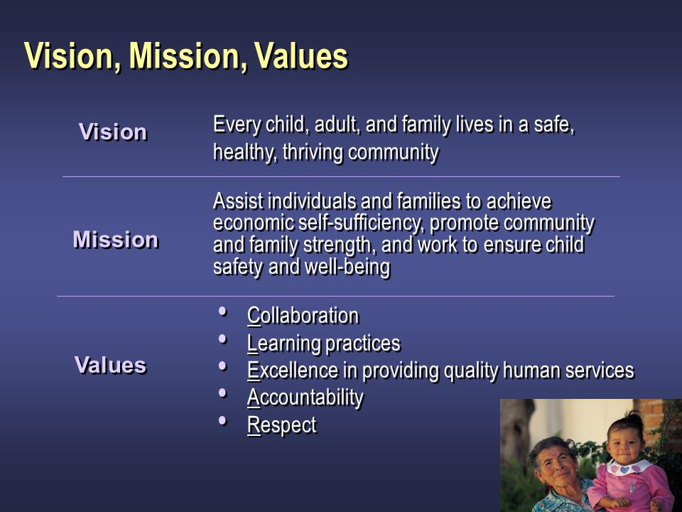 Vision, Mission, Values Assist individuals and families to achieve economic self-sufficiency, promote community and family strength, and work to ensur