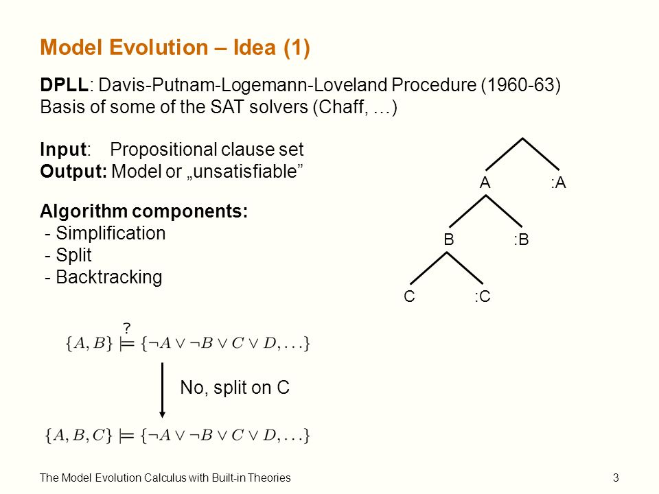 "The Model Evolution Calculus with Built-in Theories4 Model Evolution – Idea (2) flight(sb,y ) :flight(sb,y ) train(sb,d):train(sb,d) ¼ First Order DPLL [Joint Work with Cesare Tinelli] No, split on train(sb,d) :flight(sb,d)flight(sb,d) Procedure components: - Simplification - Split - Backtracking Input: First-order clause set Output: Model or ""unsatisfiable if termination"