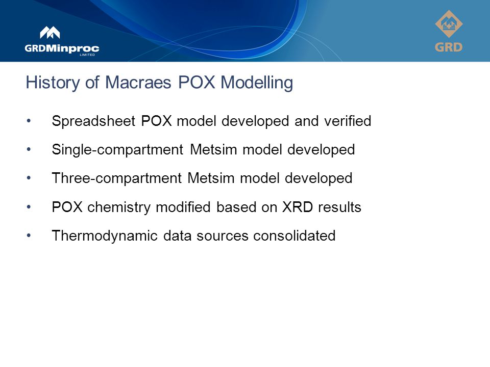 History of Macraes POX Modelling Spreadsheet POX model developed and verified Single-compartment Metsim model developed Three-compartment Metsim model