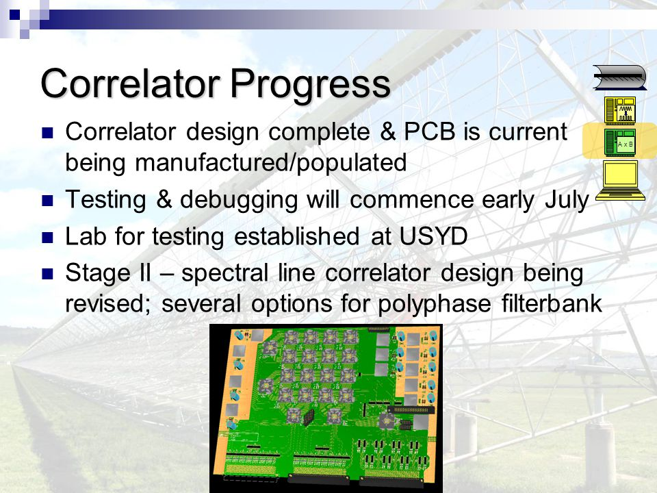 Correlator Progress Correlator design complete & PCB is current being manufactured/populated Testing & debugging will commence early July Lab for testing established at USYD Stage II – spectral line correlator design being revised; several options for polyphase filterbank A x B